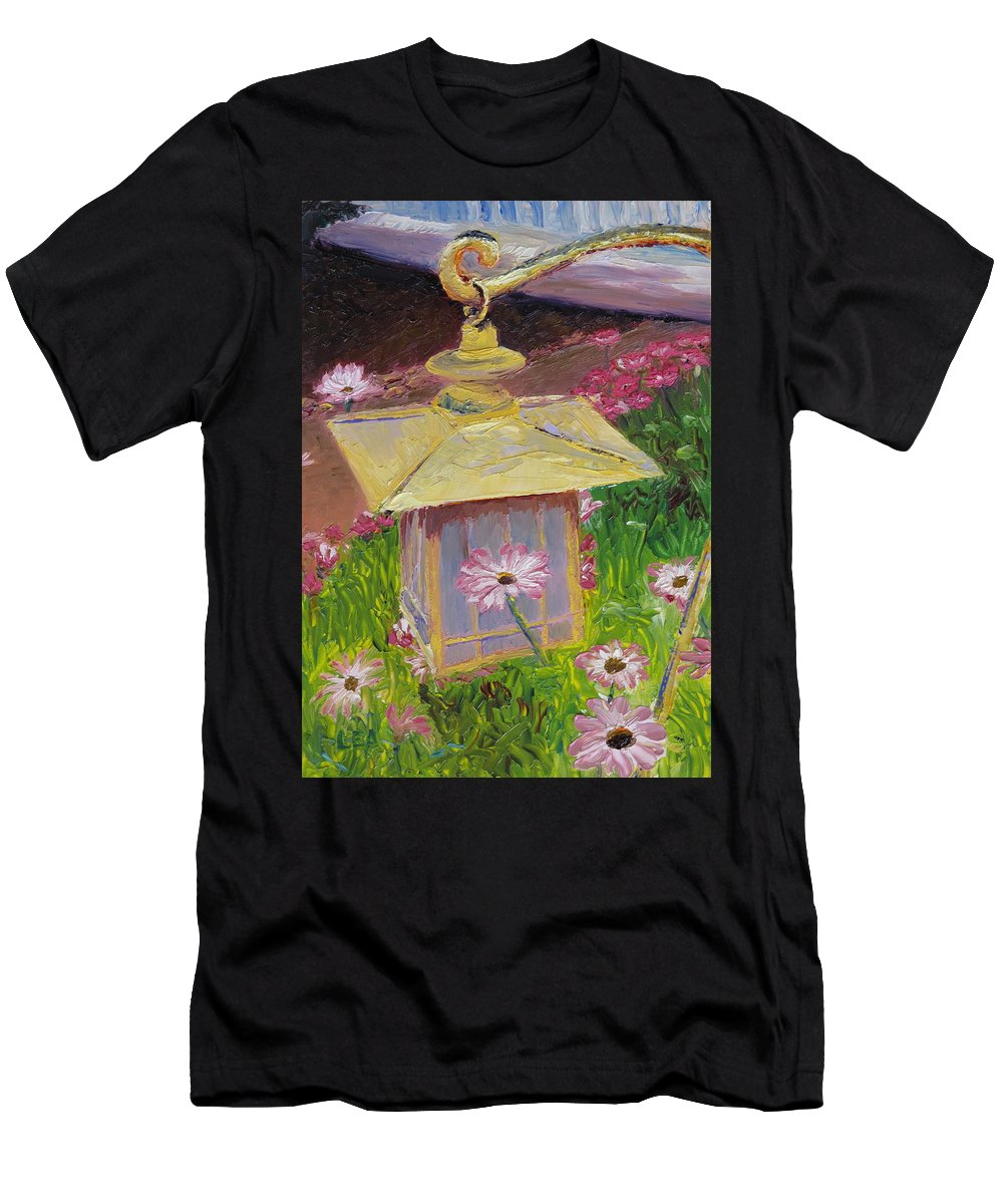 Flower Men's T-Shirt (Athletic Fit) featuring the painting Lantern And Friends by Lea Novak