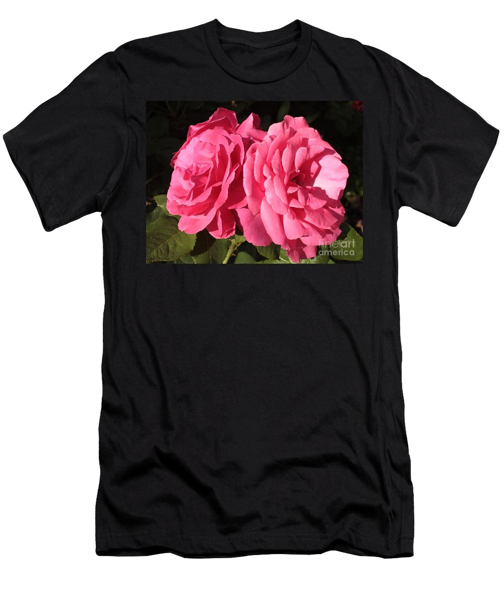 Large Pink Roses Men's T-Shirt (Athletic Fit) featuring the photograph Large Pink Roses by Carol Groenen