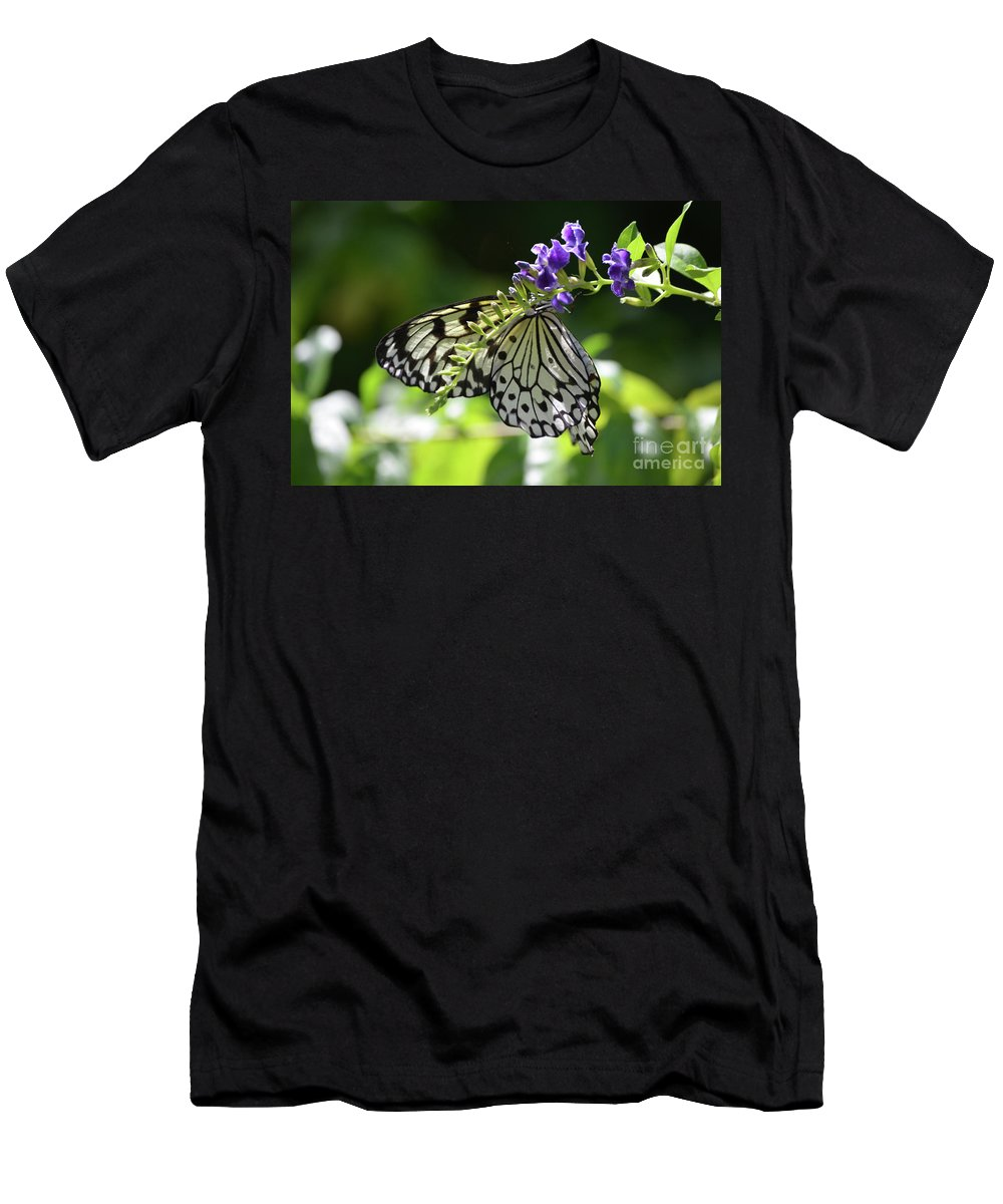 Tree-nymph Men's T-Shirt (Athletic Fit) featuring the photograph Large Tree Nymph Polinating Dainty Purple Flowers by DejaVu Designs