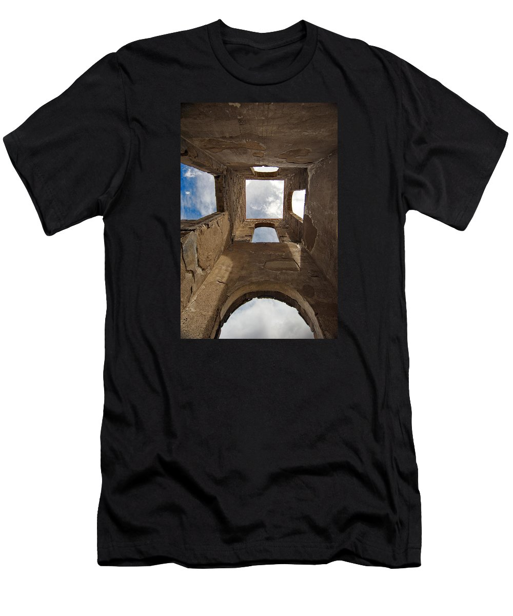 Las Mesitas Men's T-Shirt (Athletic Fit) featuring the photograph Las Mesitas Bell Tower by Ron Weathers