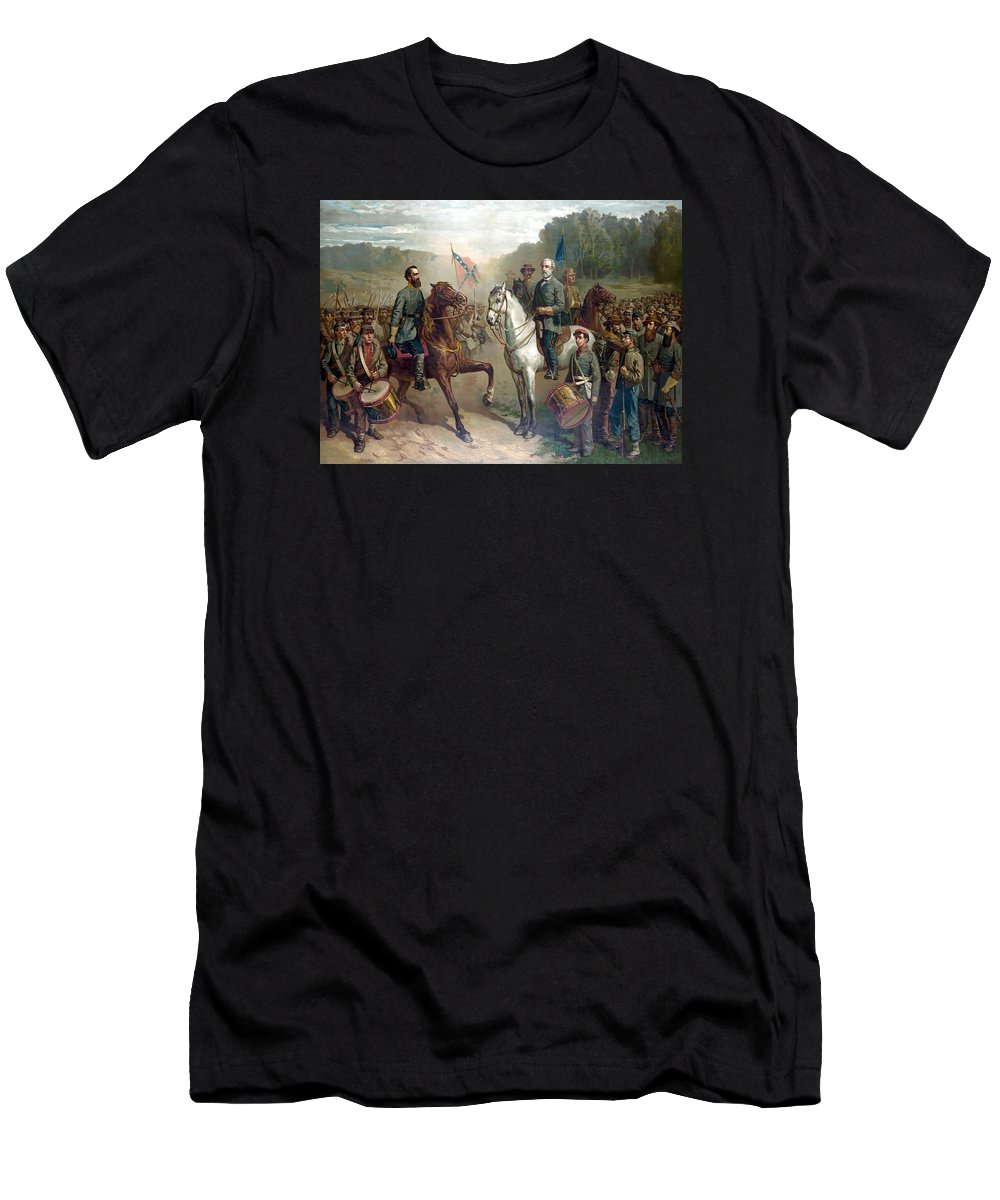 Robert E Lee Men's T-Shirt (Athletic Fit) featuring the painting Last Meeting Of Lee And Jackson by War Is Hell Store