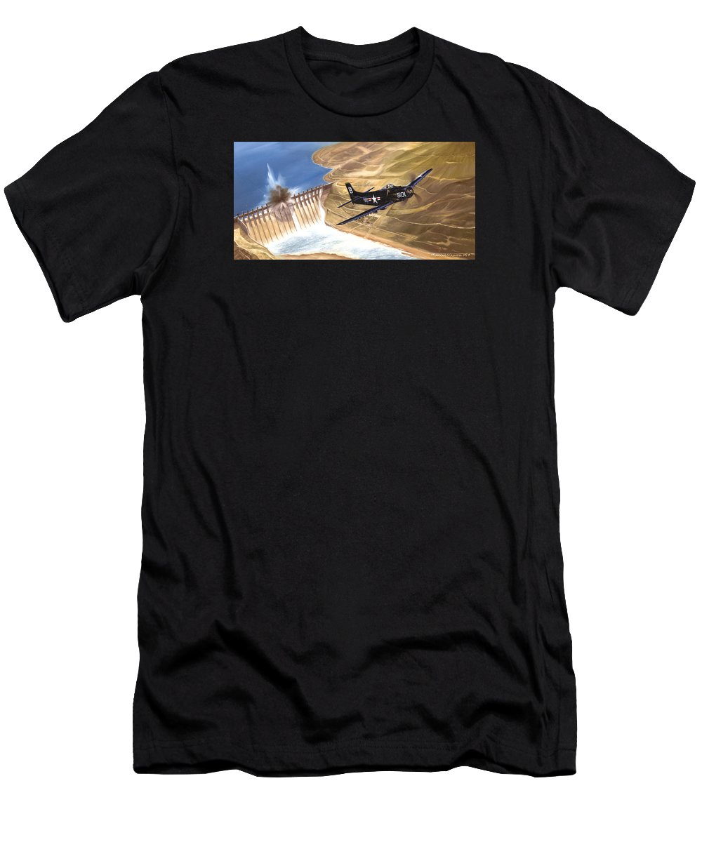 Military Men's T-Shirt (Athletic Fit) featuring the painting Last Of The Dambusters by Marc Stewart