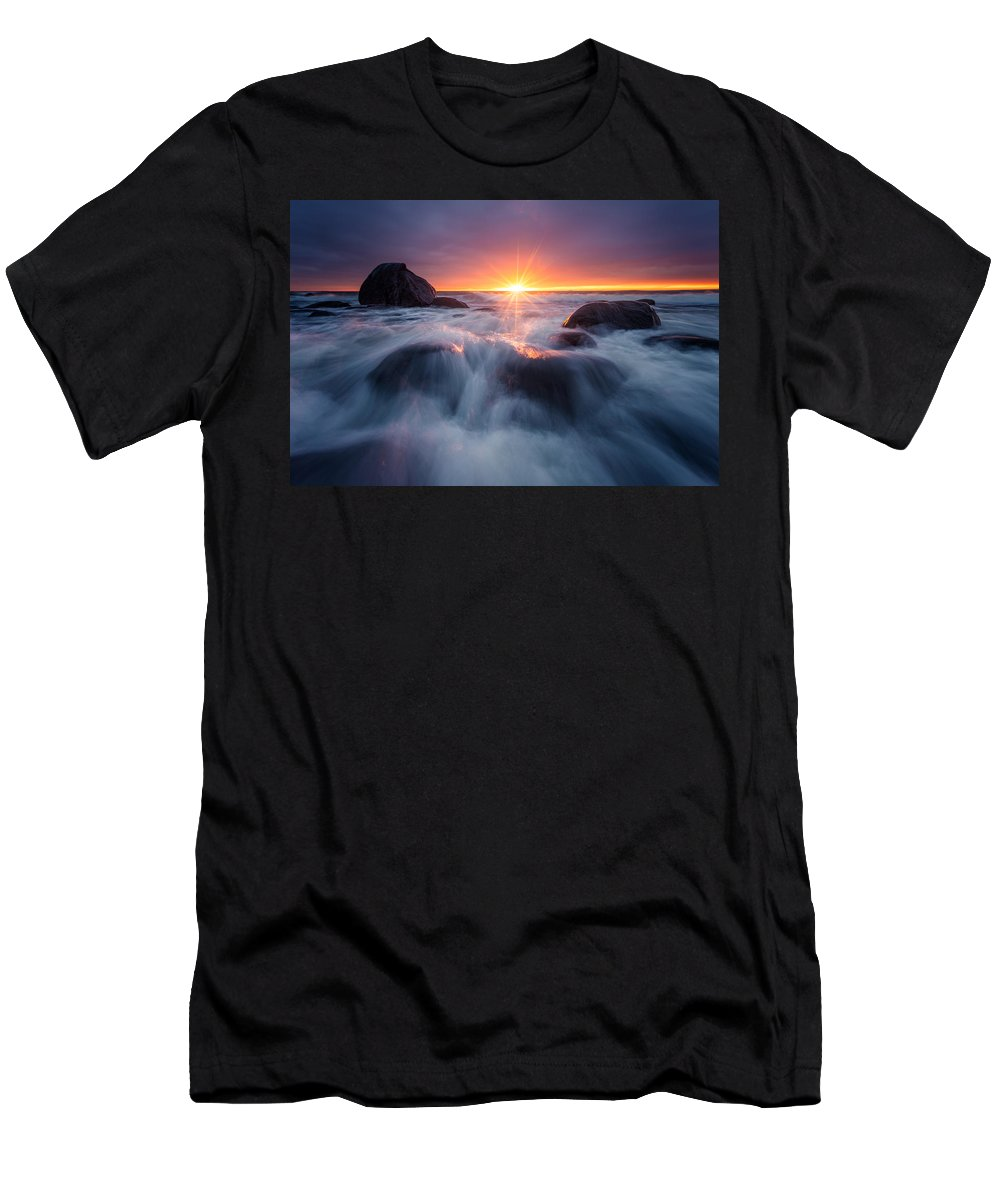 Blue Men's T-Shirt (Athletic Fit) featuring the photograph Last Rays by Arvid Bjorkqvist