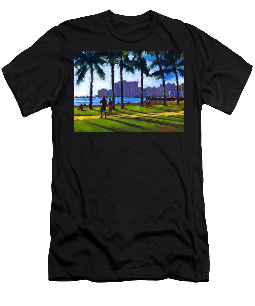 Beach Men's T-Shirt (Athletic Fit) featuring the painting Late Afternoon - Queen's Surf by Douglas Simonson