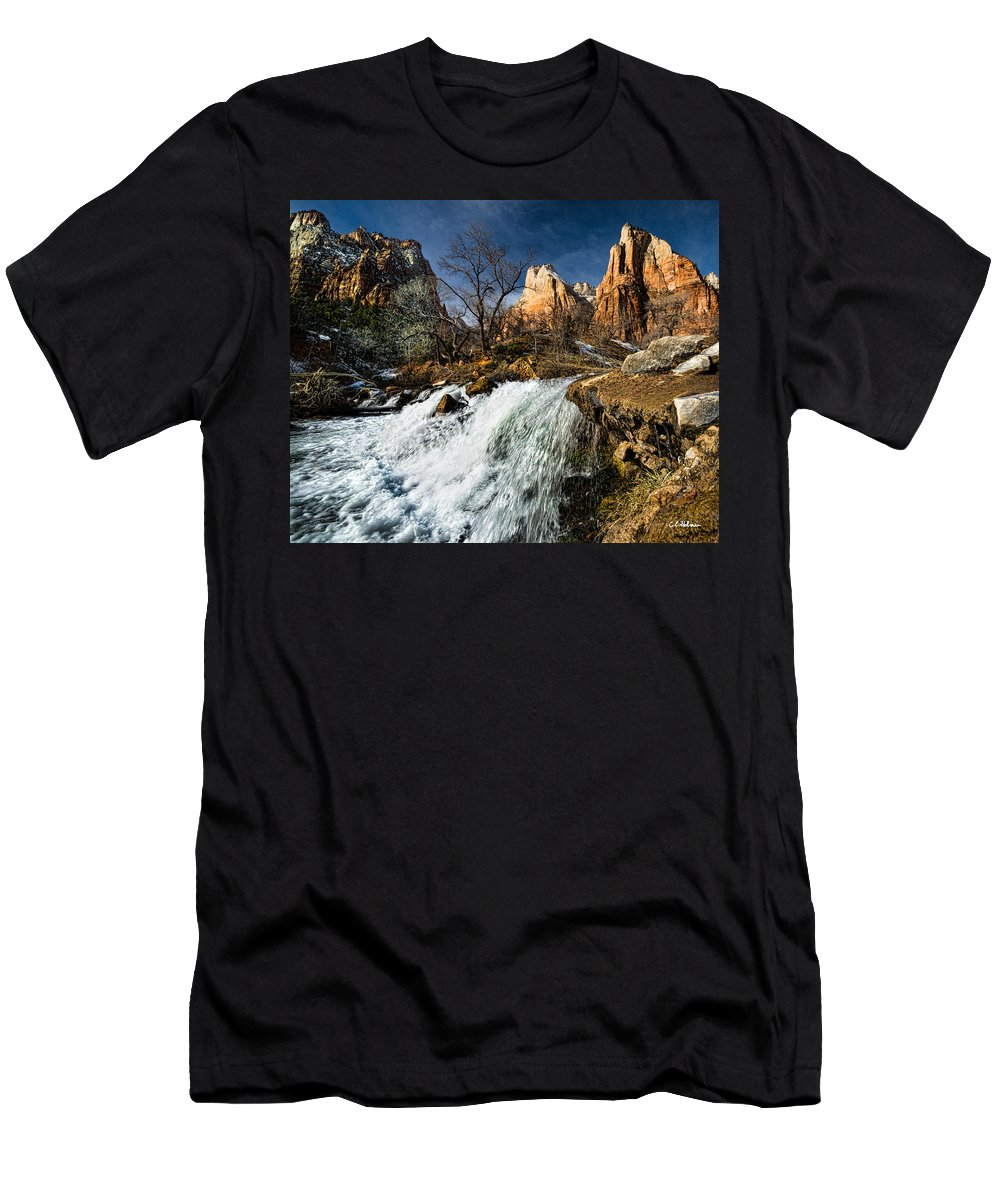 Afternoon Men's T-Shirt (Athletic Fit) featuring the photograph Late Afternoon At The Court Of The Patriarchs by Christopher Holmes