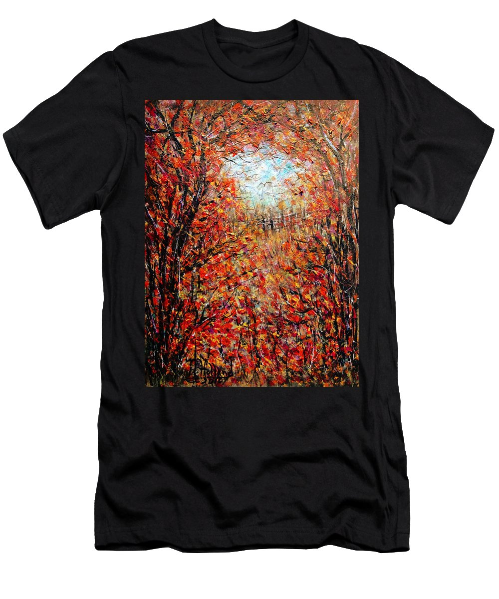 Autumn Men's T-Shirt (Athletic Fit) featuring the painting Late Autumn by Natalie Holland