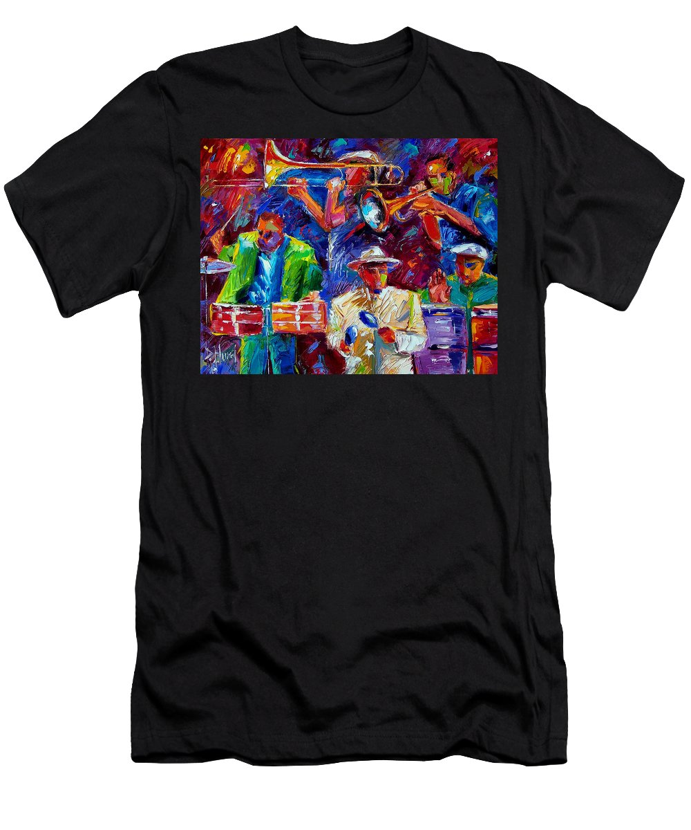 Jazz Men's T-Shirt (Athletic Fit) featuring the painting Latin Jazz by Debra Hurd