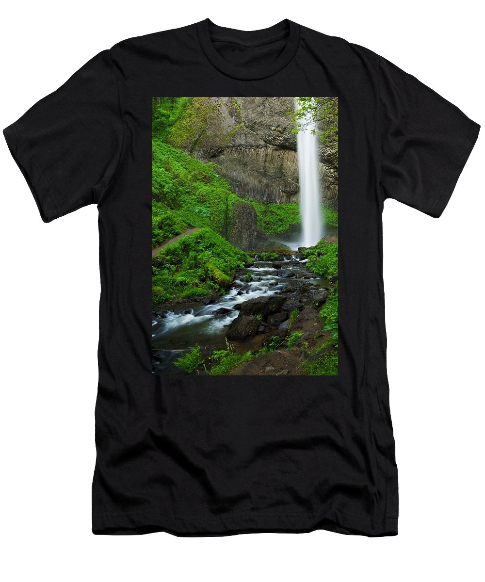 Waterfall Men's T-Shirt (Athletic Fit) featuring the photograph Latourell Falls Oregon by Renee Hong
