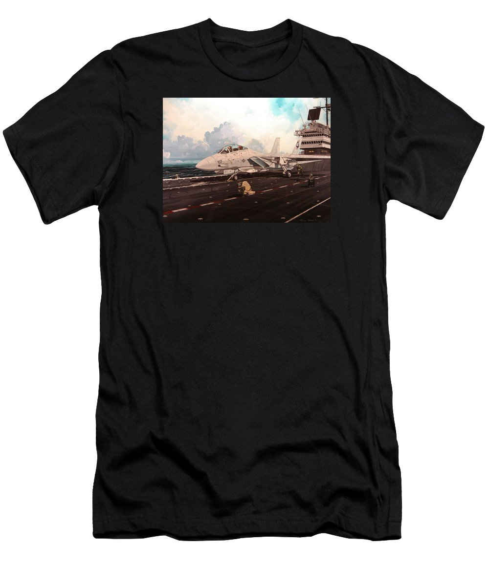 Military Men's T-Shirt (Athletic Fit) featuring the painting Launch The Alert 5 by Marc Stewart
