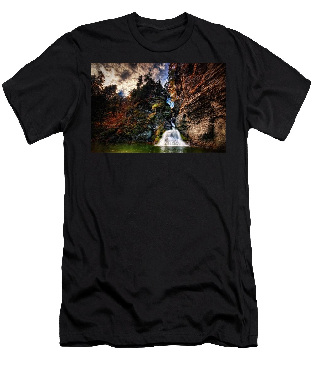 Mine Kill State Park Men's T-Shirt (Athletic Fit) featuring the photograph Laurelindorinan by Neil Shapiro