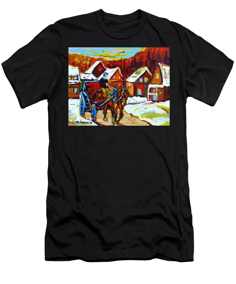 Horse And Carriage Men's T-Shirt (Athletic Fit) featuring the painting Laurentian Village Ride by Carole Spandau
