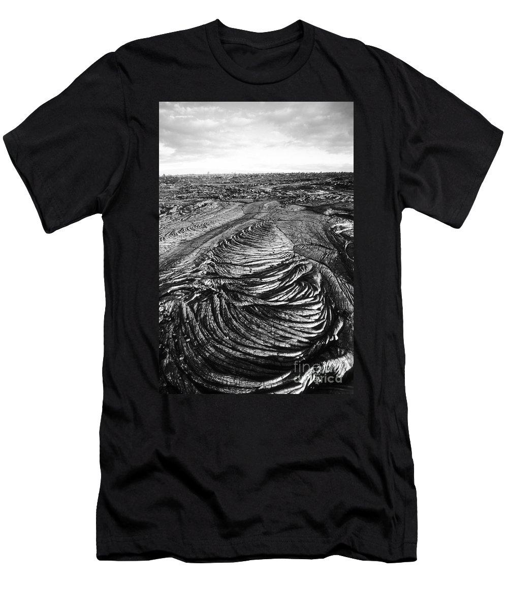 Art Medium Men's T-Shirt (Athletic Fit) featuring the photograph Lava Landscape - Bw by Greg Vaughn - Printscapes