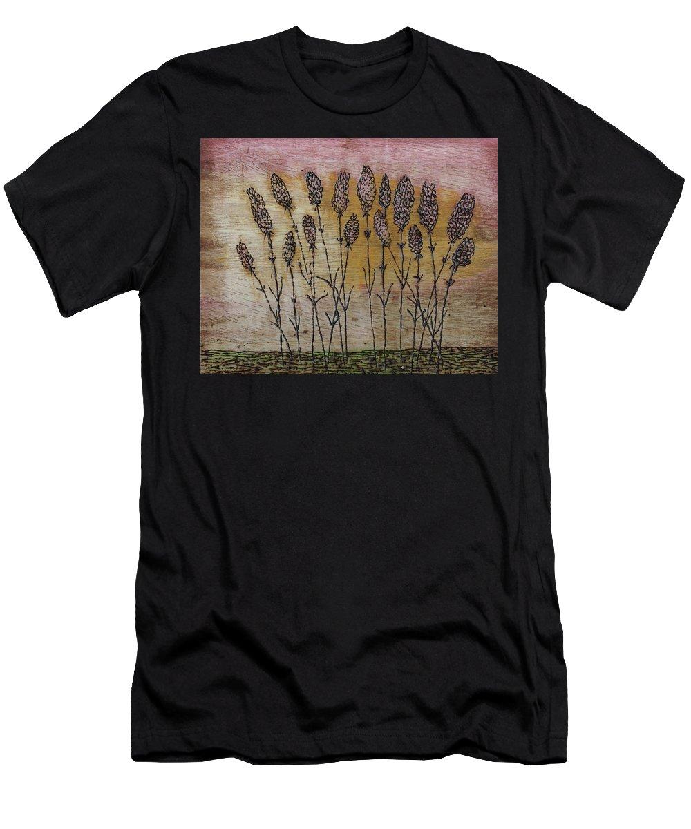 Pullicino Men's T-Shirt (Athletic Fit) featuring the pyrography Lavandula Angustifolia II by John Pullicino