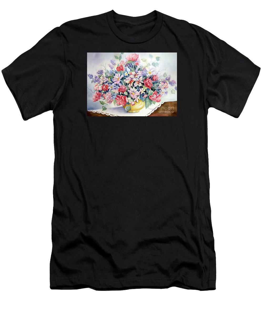 Floral Men's T-Shirt (Athletic Fit) featuring the painting Lavendar And Lace by Deborah Ronglien