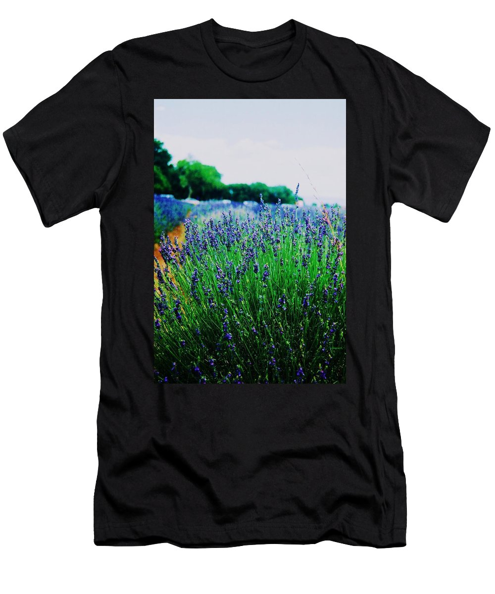 Lavender Field Men's T-Shirt (Athletic Fit) featuring the painting Lavender Field by Eric Schiabor