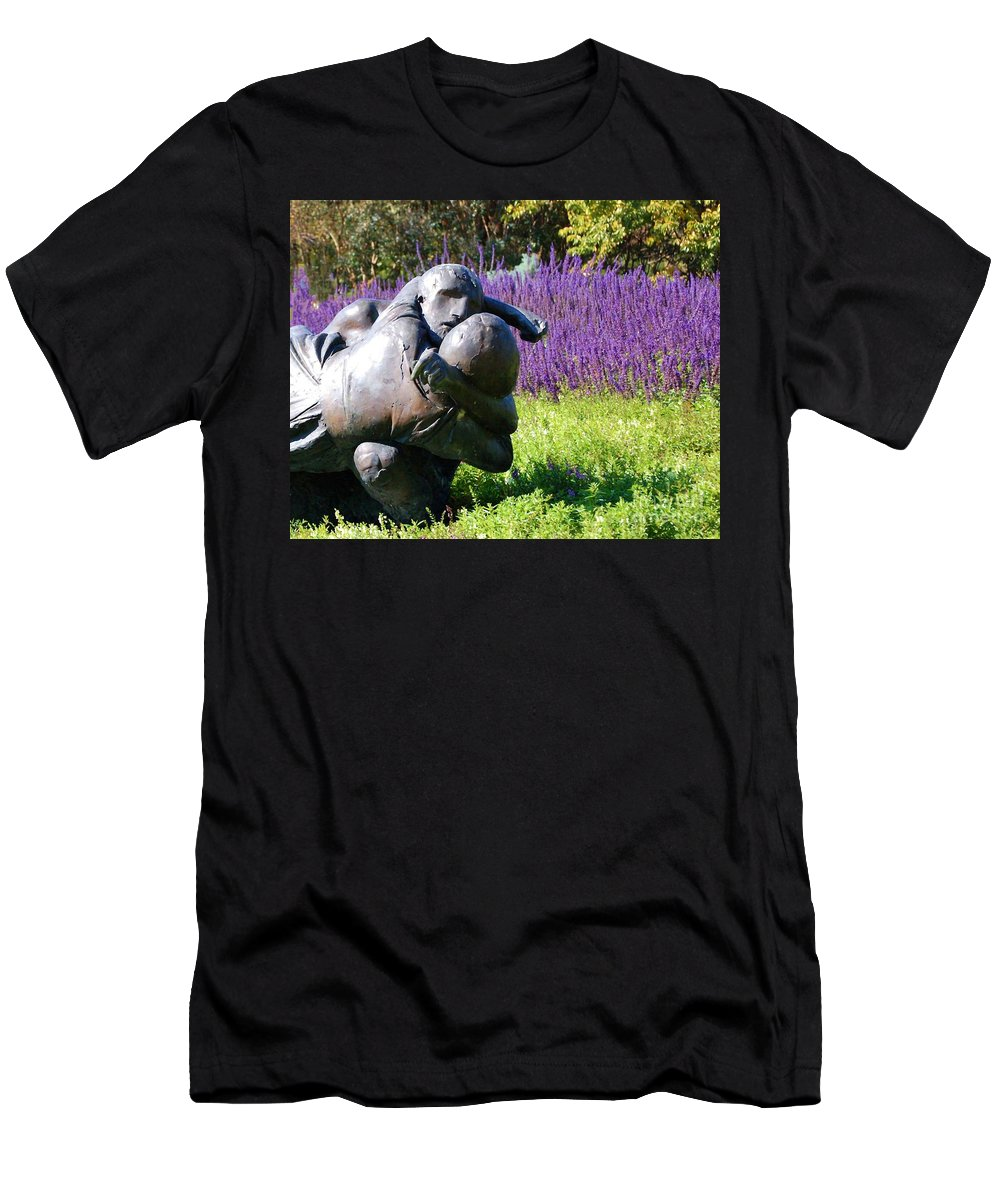 Statue Men's T-Shirt (Athletic Fit) featuring the photograph Lavender Lovers by Debbi Granruth