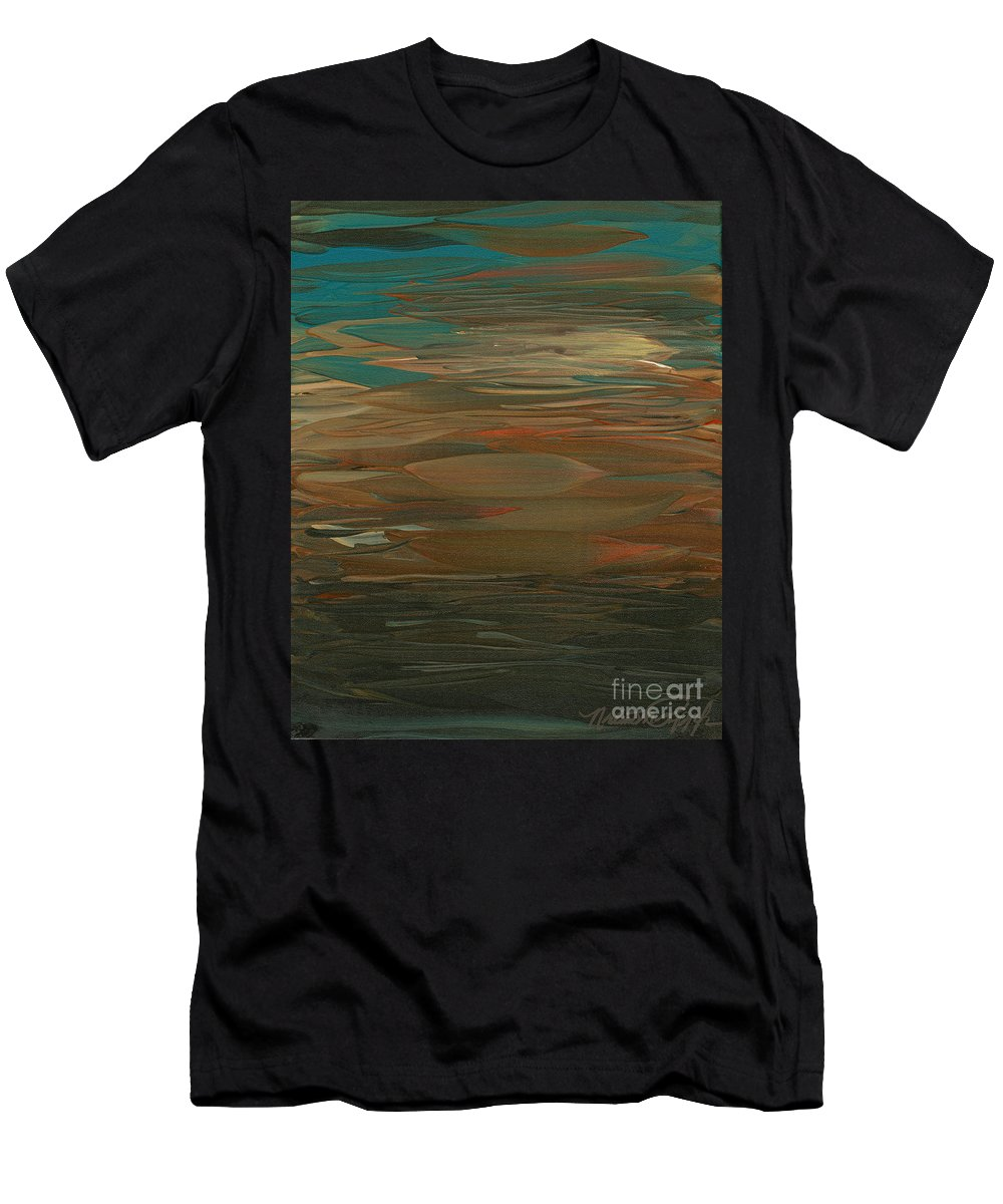 Sunset Men's T-Shirt (Athletic Fit) featuring the painting Layered Teal Sunset by Nadine Rippelmeyer