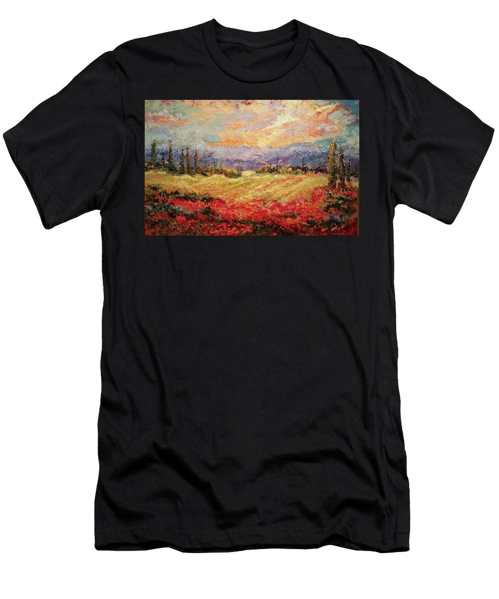 Italian Vineyards T-Shirt featuring the painting Layers of Tuscany by Ginger Concepcion