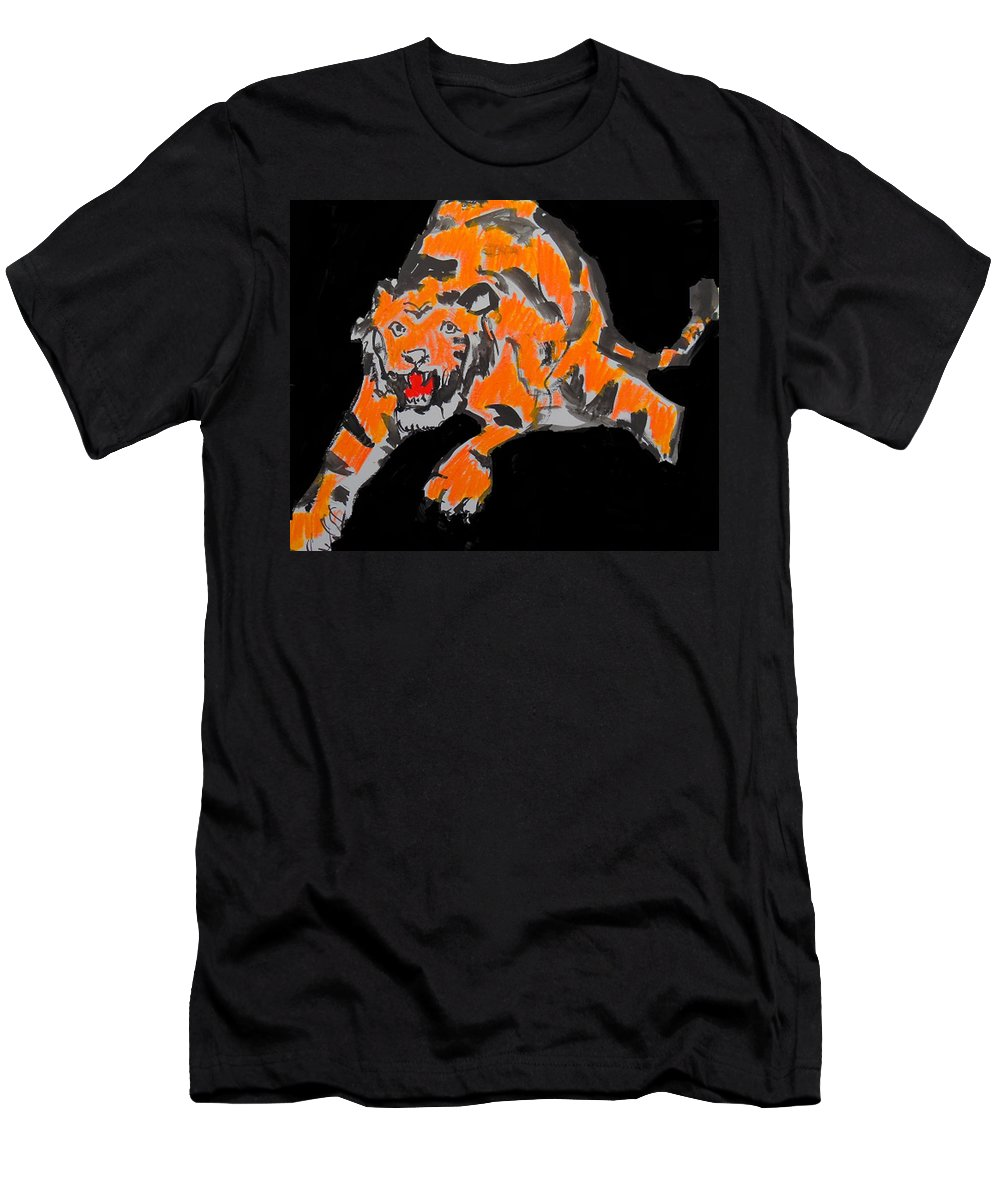 Tiger Men's T-Shirt (Athletic Fit) featuring the painting Leap by Samuel Zylstra