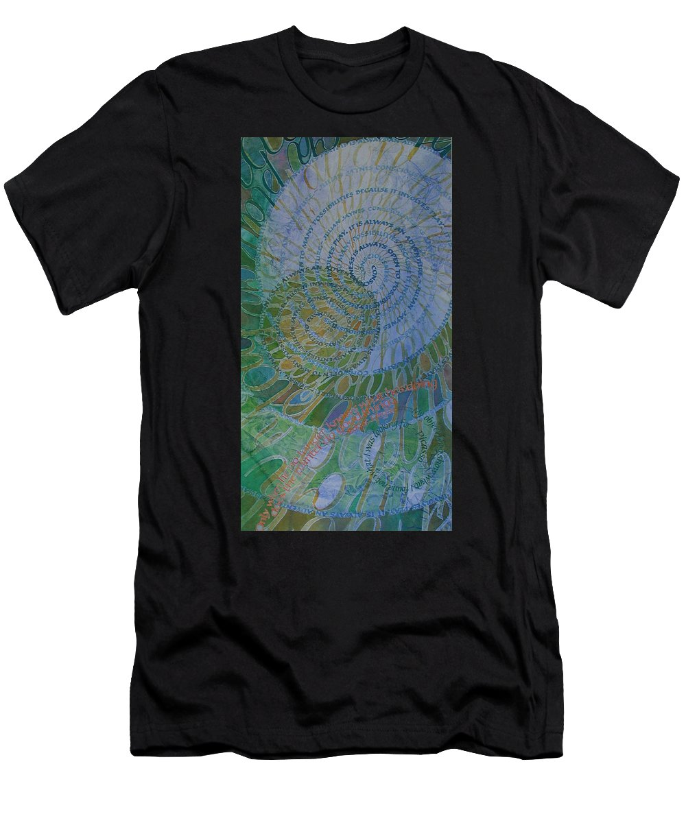 Calligraphy Men's T-Shirt (Athletic Fit) featuring the painting Learning Curves by Sid Freeman