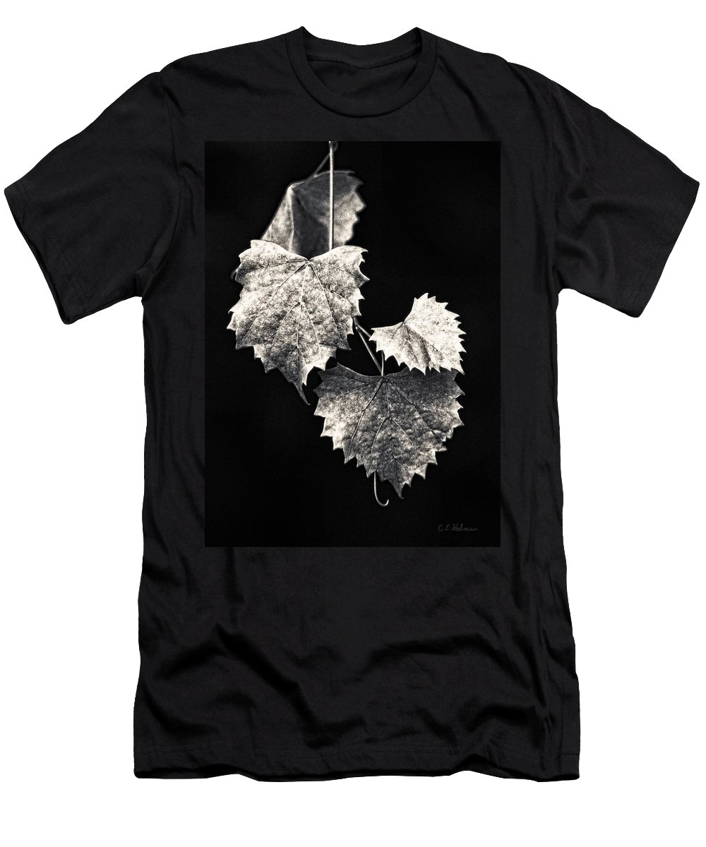 B&w Men's T-Shirt (Athletic Fit) featuring the photograph Leaves by Christopher Holmes