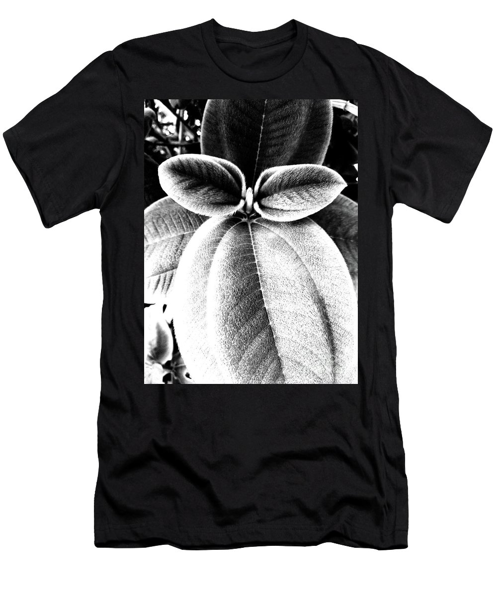 Black And White Men's T-Shirt (Athletic Fit) featuring the photograph Leaves No. 36 by Fei A