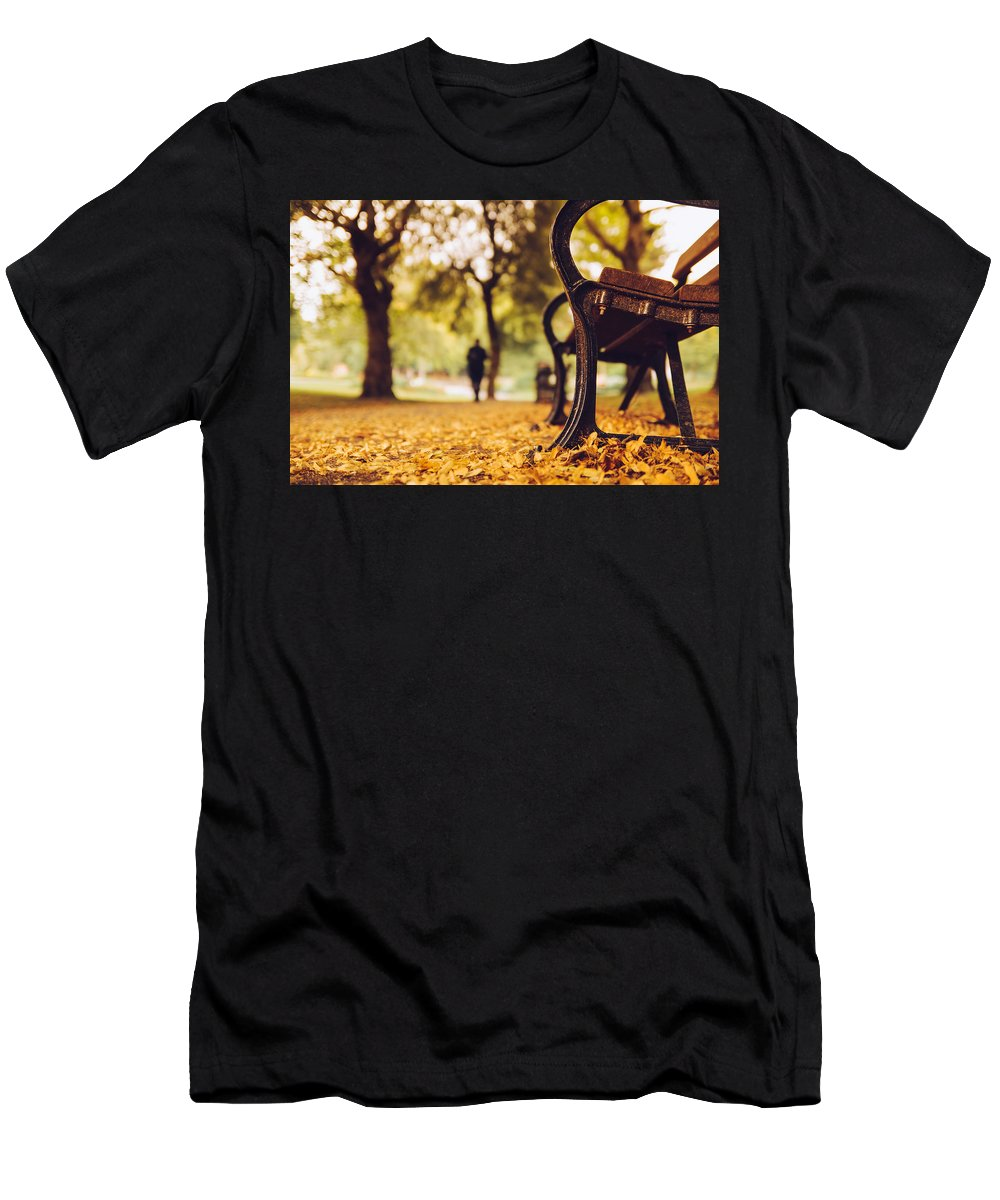 Autumn Men's T-Shirt (Athletic Fit) featuring the photograph Leaves Strewed The Path by Jose M Vazquez