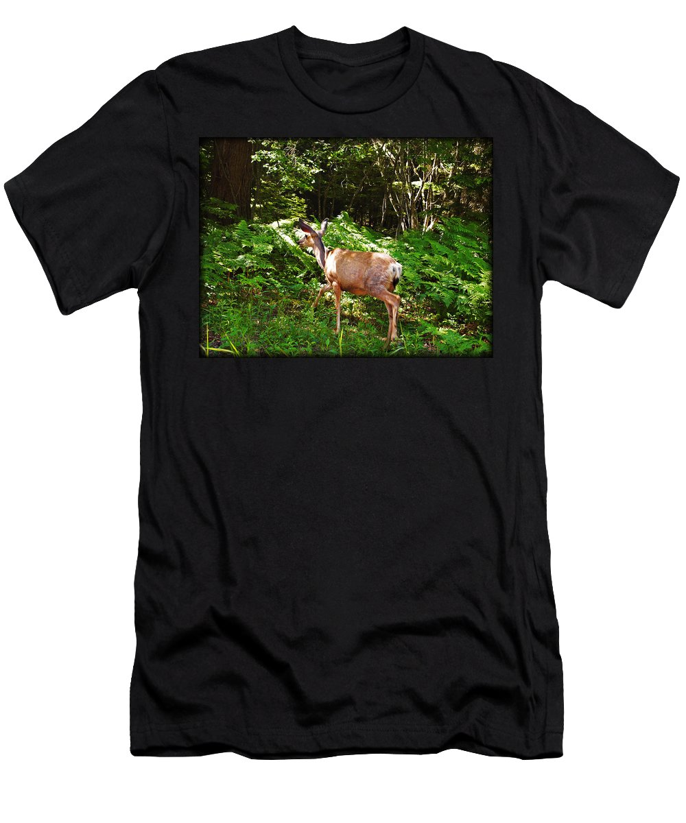 Deer Men's T-Shirt (Athletic Fit) featuring the photograph Leaving The Road by Jo-Anne Gazo-McKim