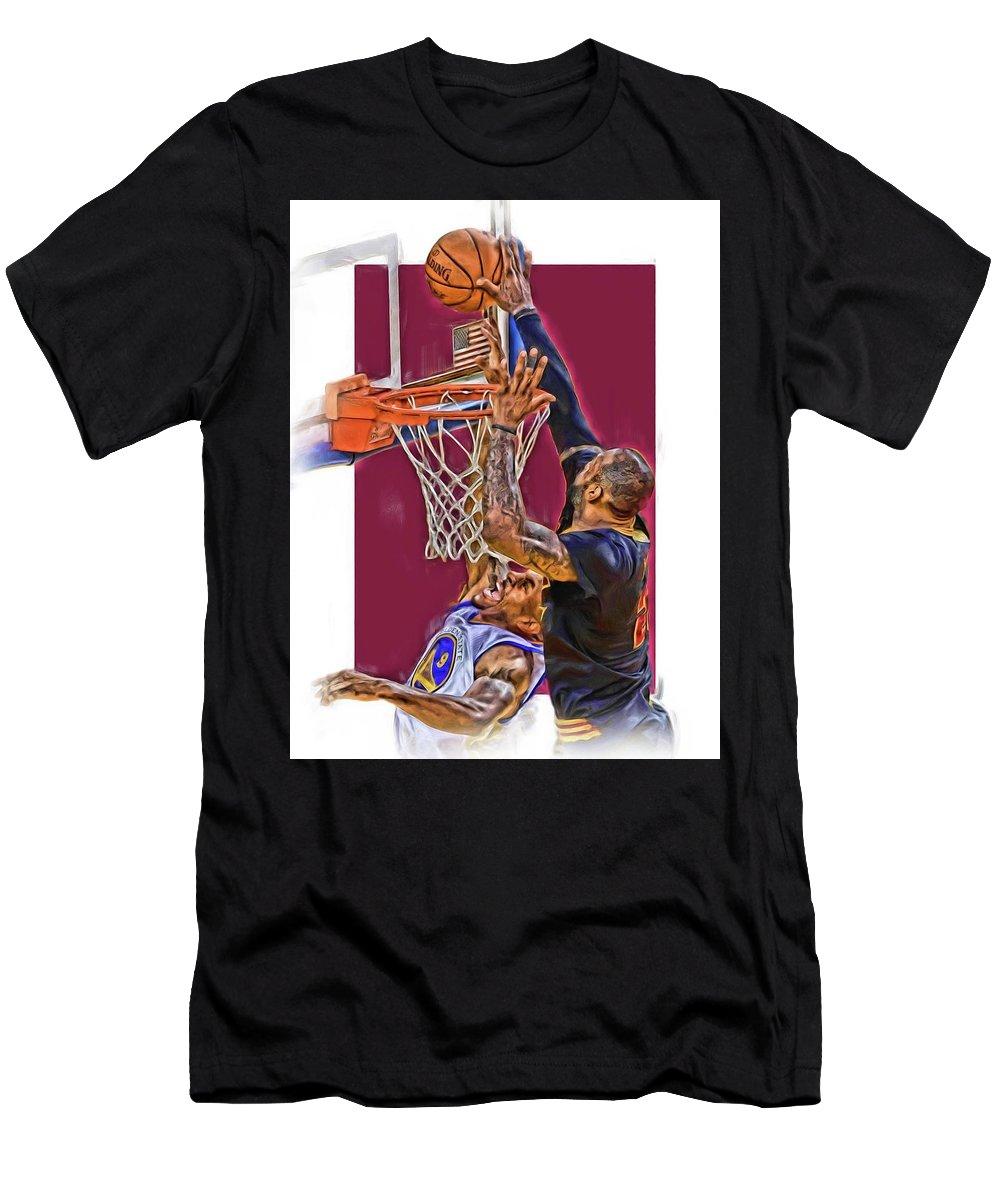 the latest dcefa 34da2 Lebron James Cleveland Cavaliers Oil Art Men's T-Shirt (Athletic Fit)