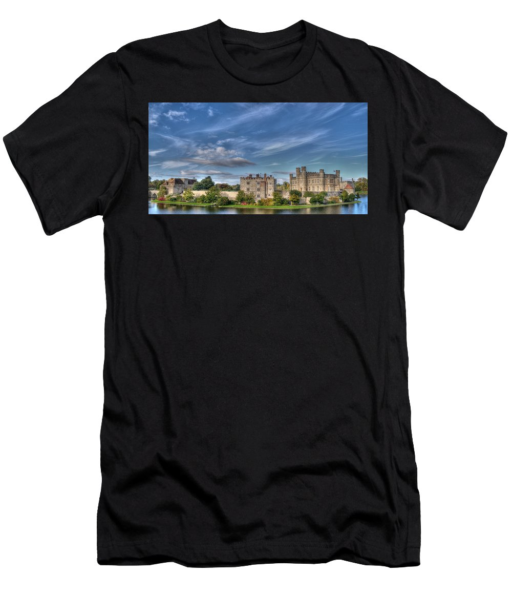 Leeds Castle Men's T-Shirt (Athletic Fit) featuring the photograph Leeds Castle And Moat Rear View by Chris Thaxter