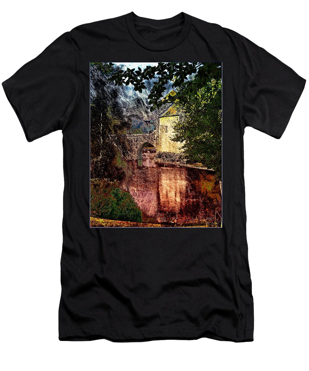 Castle Men's T-Shirt (Athletic Fit) featuring the photograph Leeds Castle Gatehouse And Moat by Chris Lord
