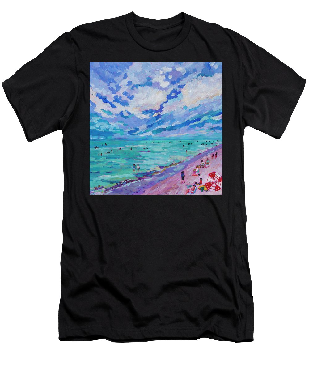 Umbrella Men's T-Shirt (Athletic Fit) featuring the painting Left Panel Of Triptych Busy Relaxing by Heather Nagy