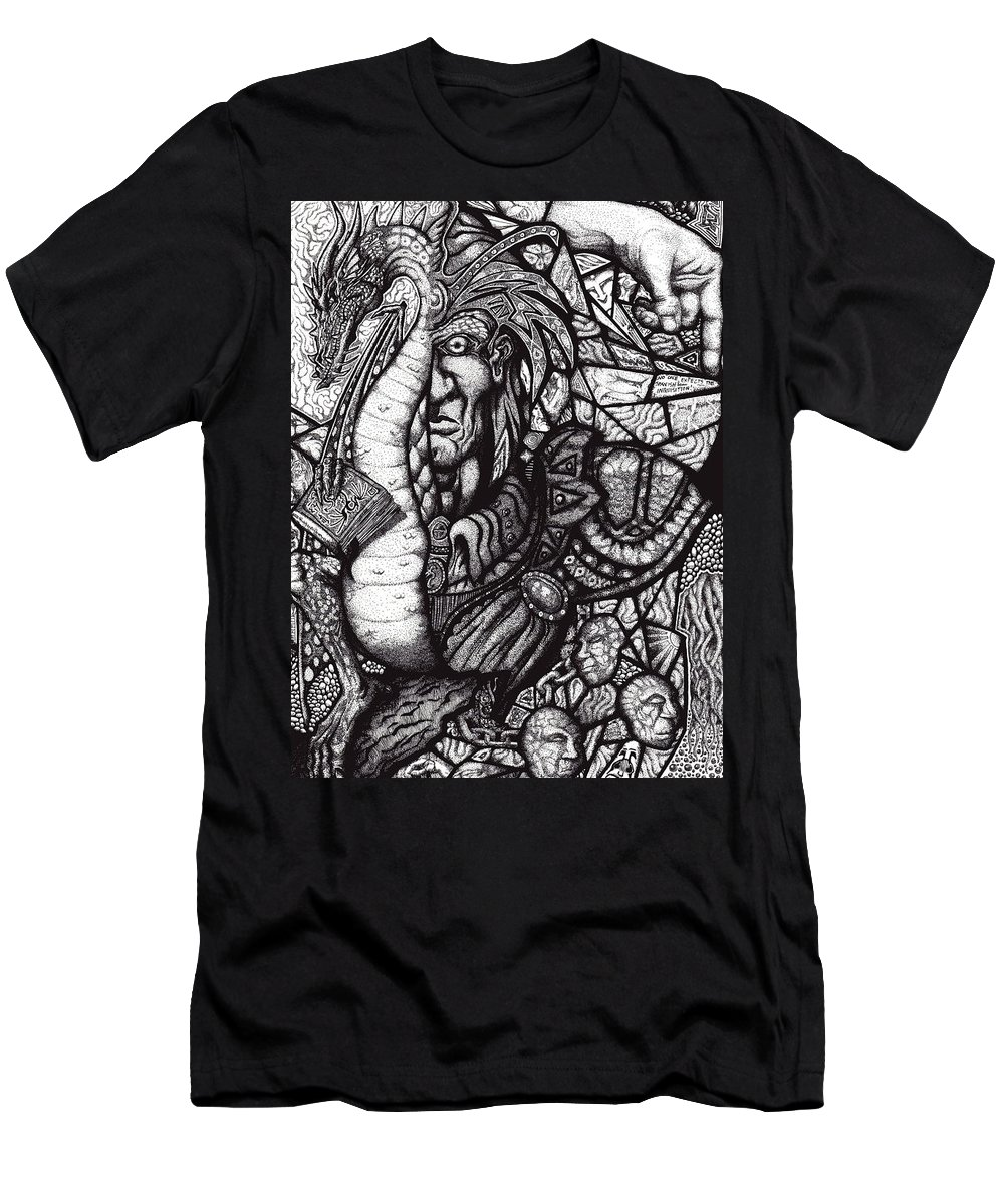 Pen And Ink Men's T-Shirt (Athletic Fit) featuring the drawing Legend by Tobey Anderson