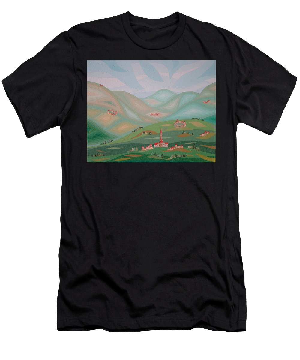 Oil Men's T-Shirt (Athletic Fit) featuring the painting Legendary Land by Peter Antos