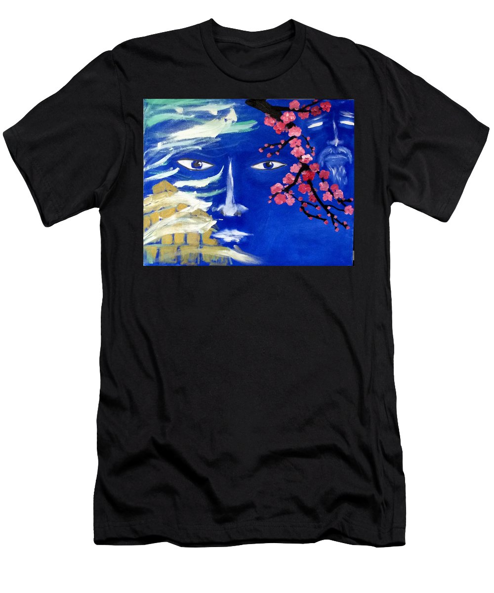 Abstract Men's T-Shirt (Athletic Fit) featuring the painting Lemurians by Inessa Guterman