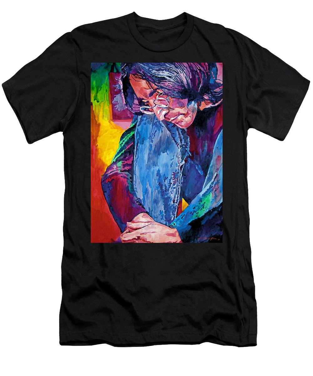 Rock Star Men's T-Shirt (Athletic Fit) featuring the painting Lennon In Repose by David Lloyd Glover