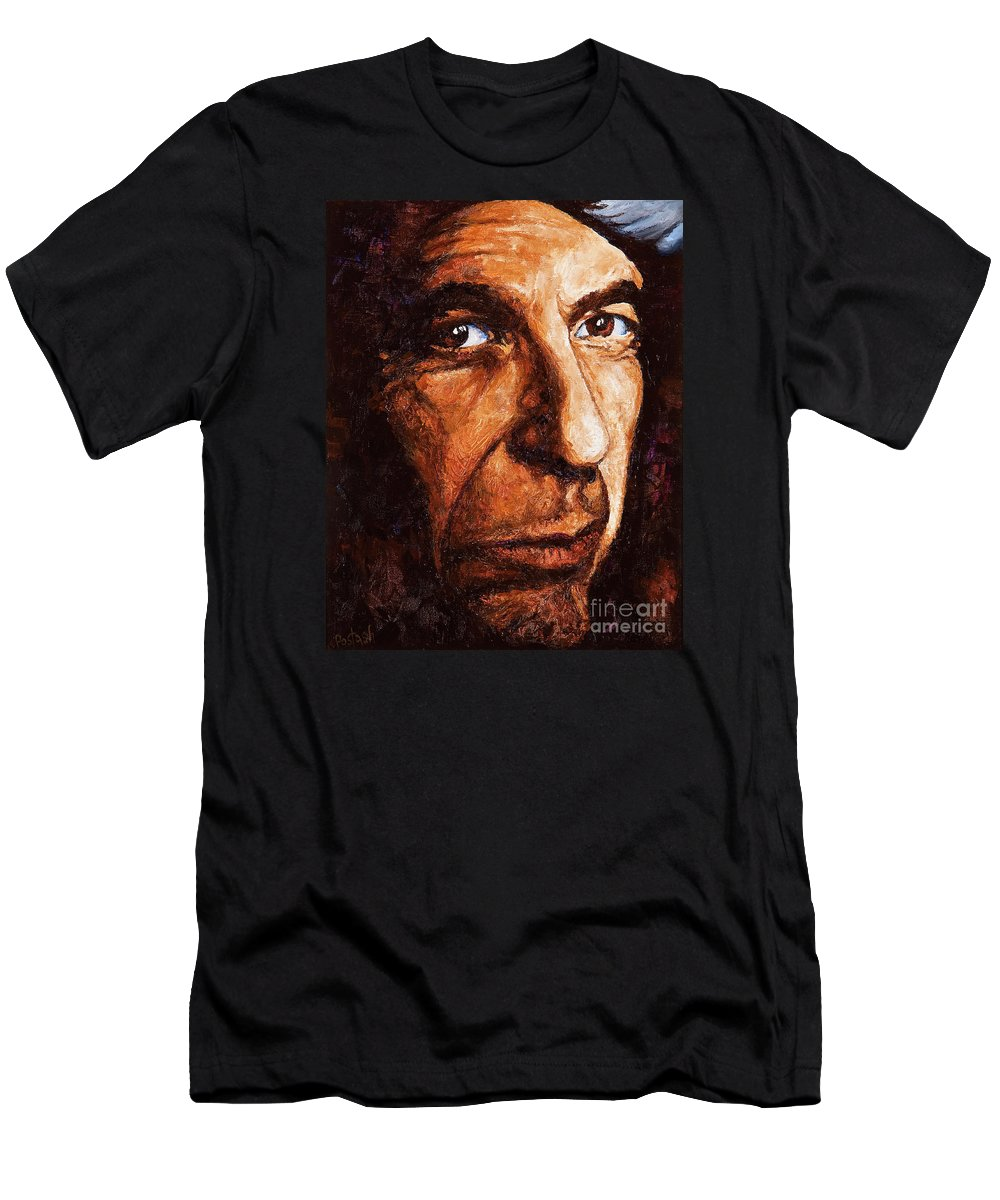 Colorful T-Shirt featuring the painting Leonard Cohen by Igor Postash