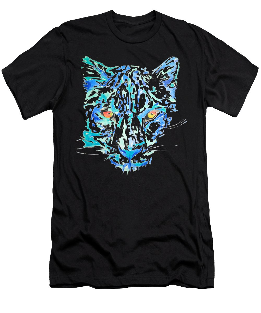 Painting Men's T-Shirt (Athletic Fit) featuring the drawing Leopard by Adriano Diana