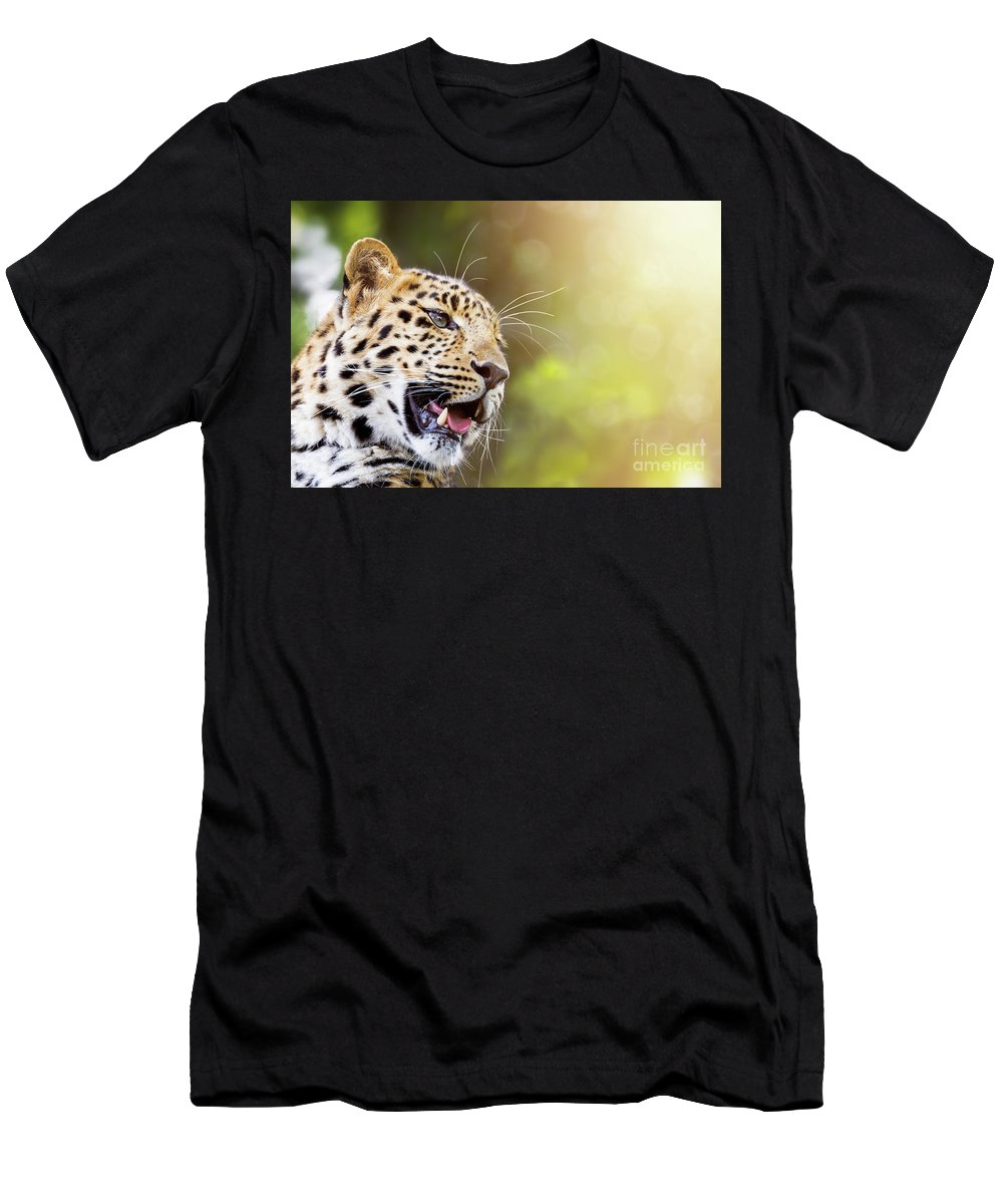 Leopard Men's T-Shirt (Athletic Fit) featuring the photograph Leopard In Sunlight by Jane Rix