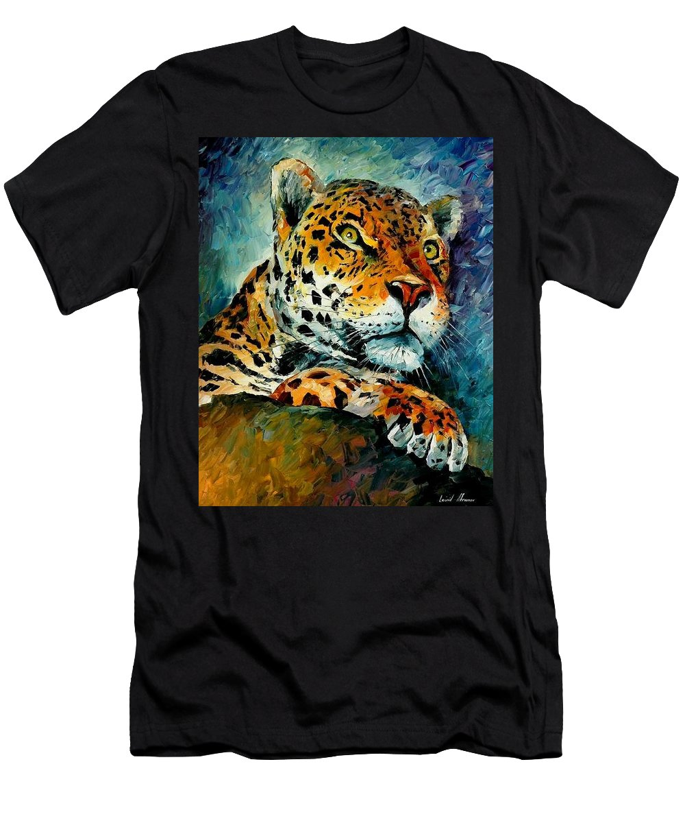 Animals Men's T-Shirt (Athletic Fit) featuring the painting Leopard by Leonid Afremov