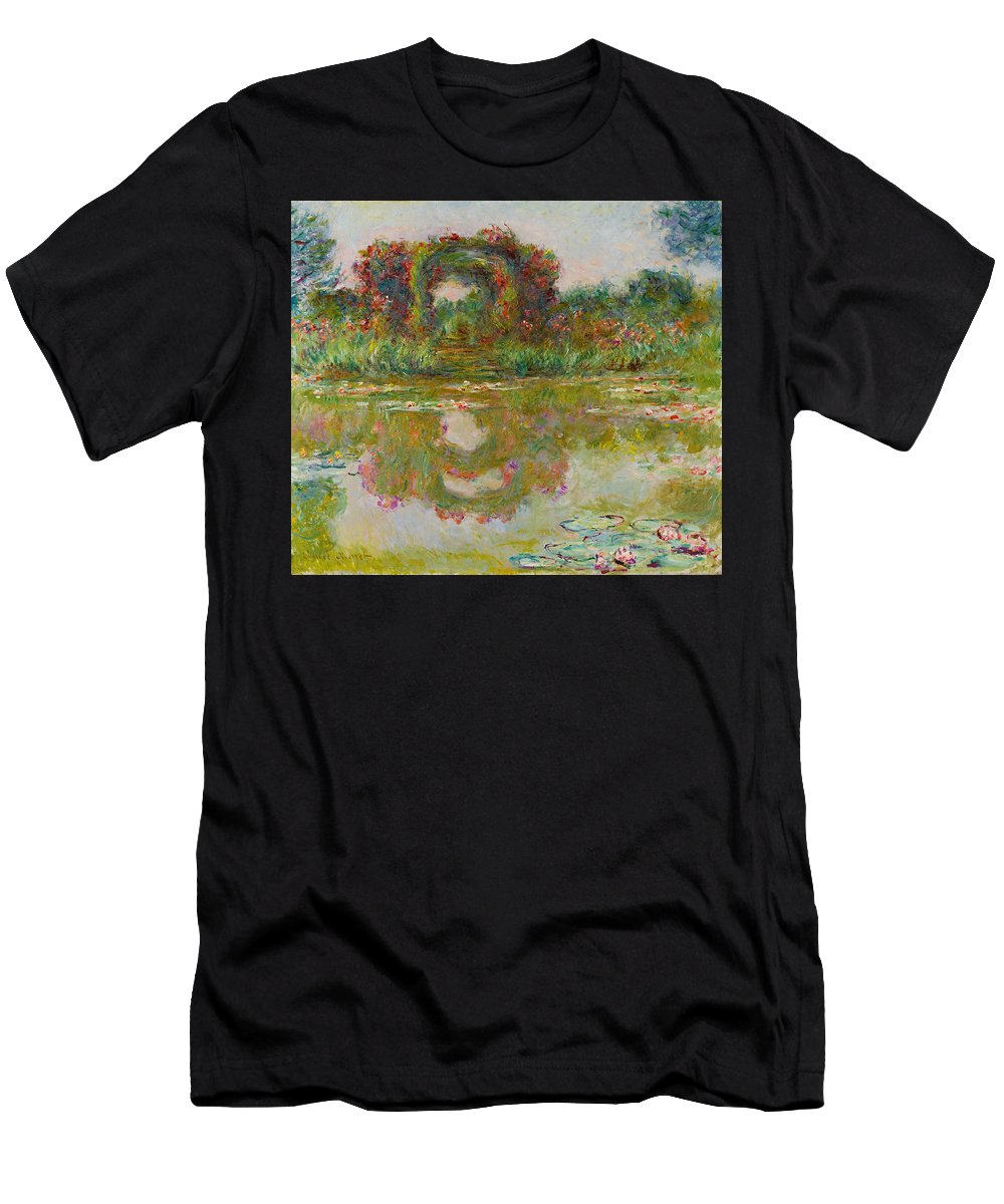 Claude Monet Men's T-Shirt (Athletic Fit) featuring the painting Les Arceaux De Roses. Giverny by Claude Monet