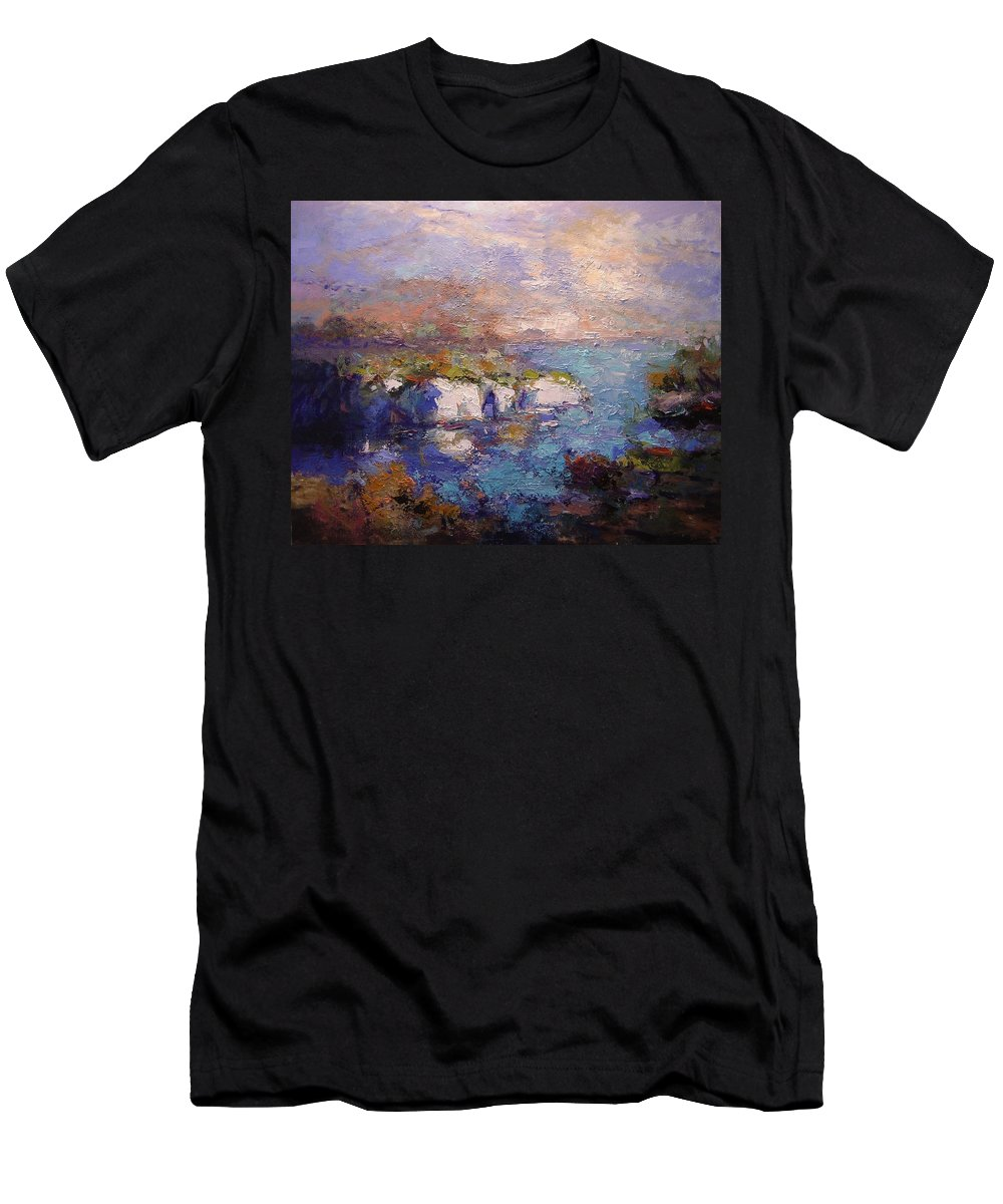 Les Calanques Men's T-Shirt (Athletic Fit) featuring the painting Les Calanques In Bright Light IIi by R W Goetting
