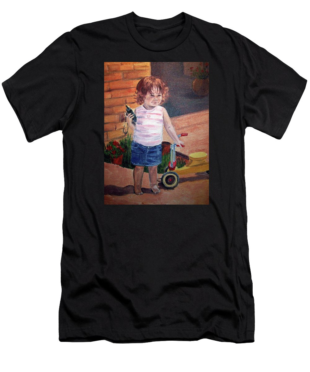 Girl Portrait Men's T-Shirt (Athletic Fit) featuring the painting Let Me Call Papa by Irina Sztukowski