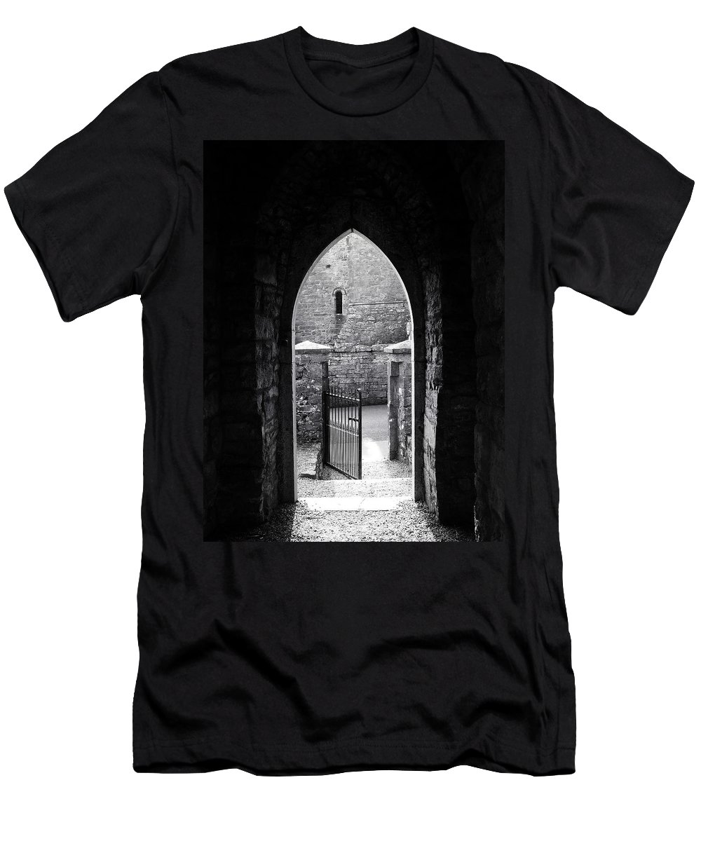 Irish Men's T-Shirt (Athletic Fit) featuring the photograph Let There Be Light Cong Church And Abbey Cong Ireland by Teresa Mucha