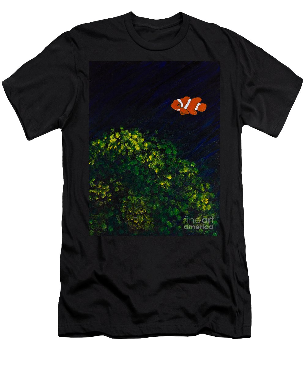 Clownfish Men's T-Shirt (Athletic Fit) featuring the painting Leting/searching by Suzanne Thobro