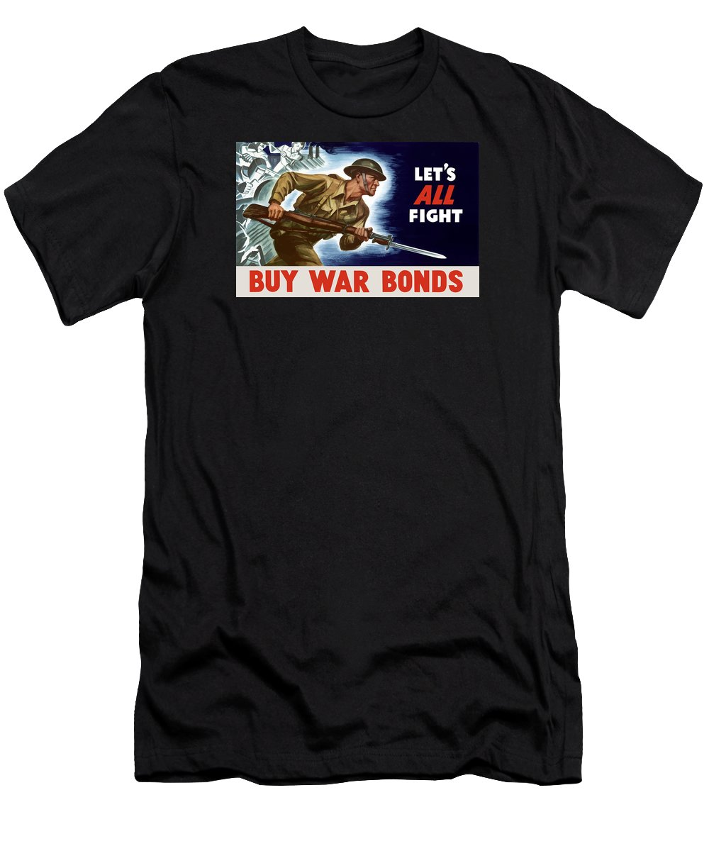 World War Ii Men's T-Shirt (Athletic Fit) featuring the painting Let's All Fight Buy War Bonds by War Is Hell Store