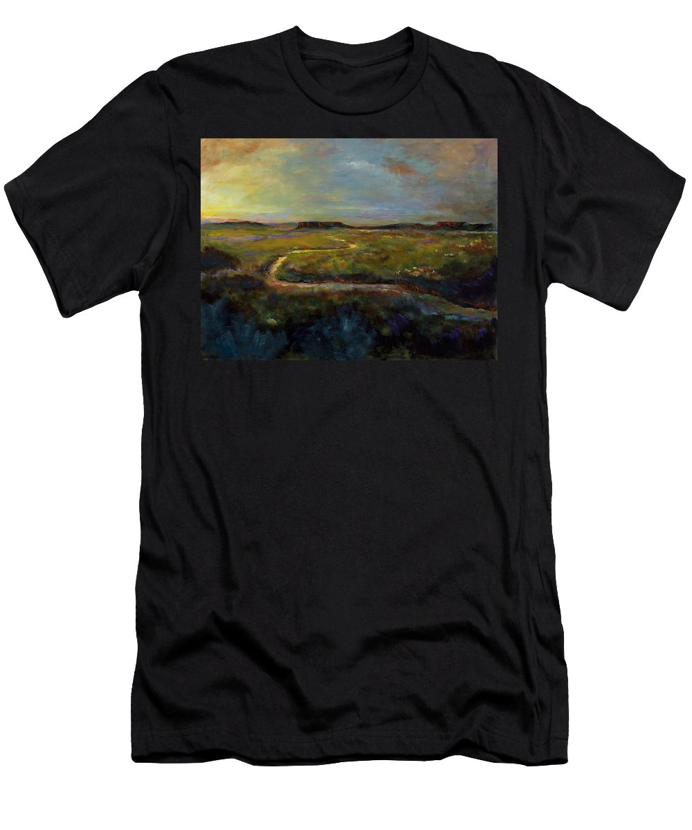 Paths Men's T-Shirt (Athletic Fit) featuring the painting Let's Take This Path by Frances Marino