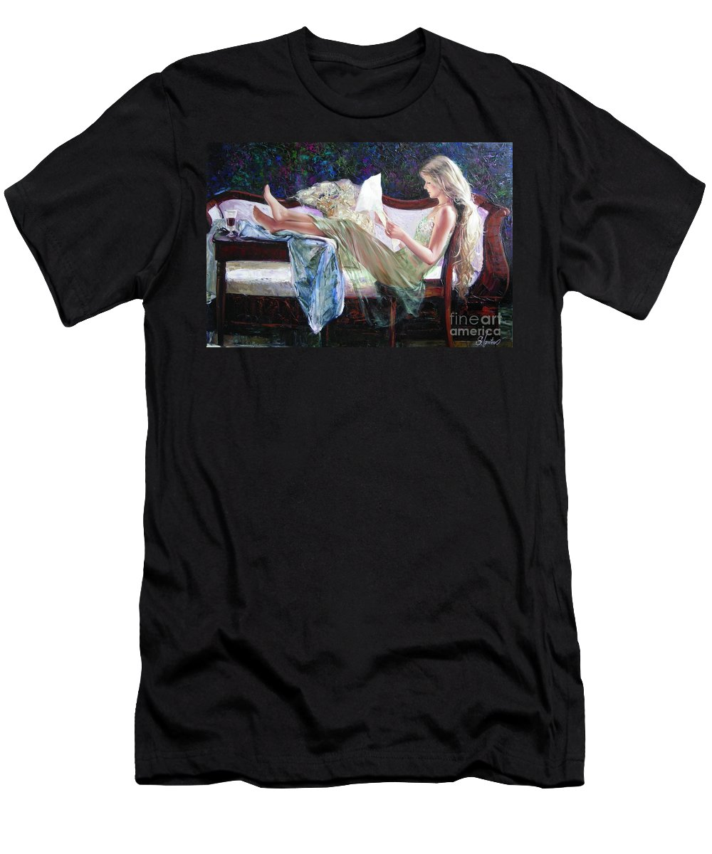 Figurative Men's T-Shirt (Athletic Fit) featuring the painting Letter From Him by Sergey Ignatenko