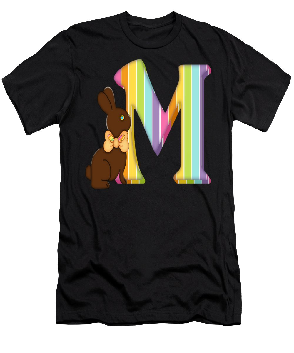 6896f7170 Monogram Men's T-Shirt (Athletic Fit) featuring the digital art Letter M  Chocolate