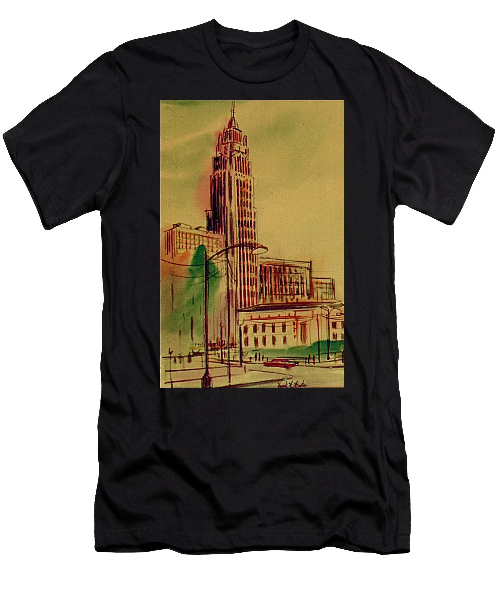 Tallest Building In Columbus 1960 Men's T-Shirt (Athletic Fit) featuring the painting Leveq-lncoln Tower Columbus Ohio by Frank Hunter